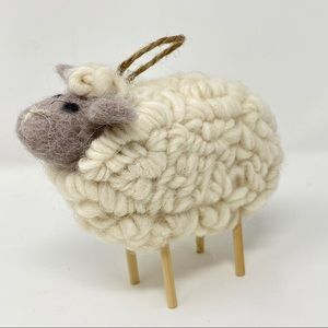 Sheep made with wool fiber and felt